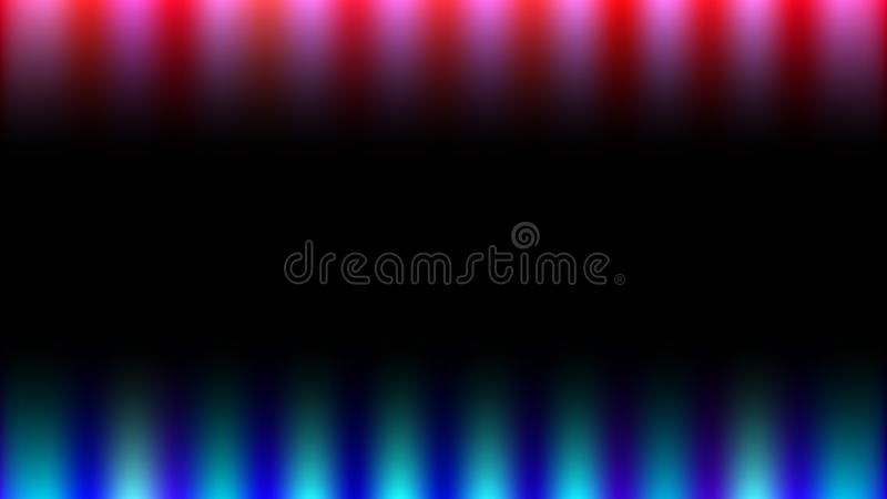 Bright, abstract, colorful blue magical neon energy rays of light similar to fire on a black background and copy space. royalty free illustration