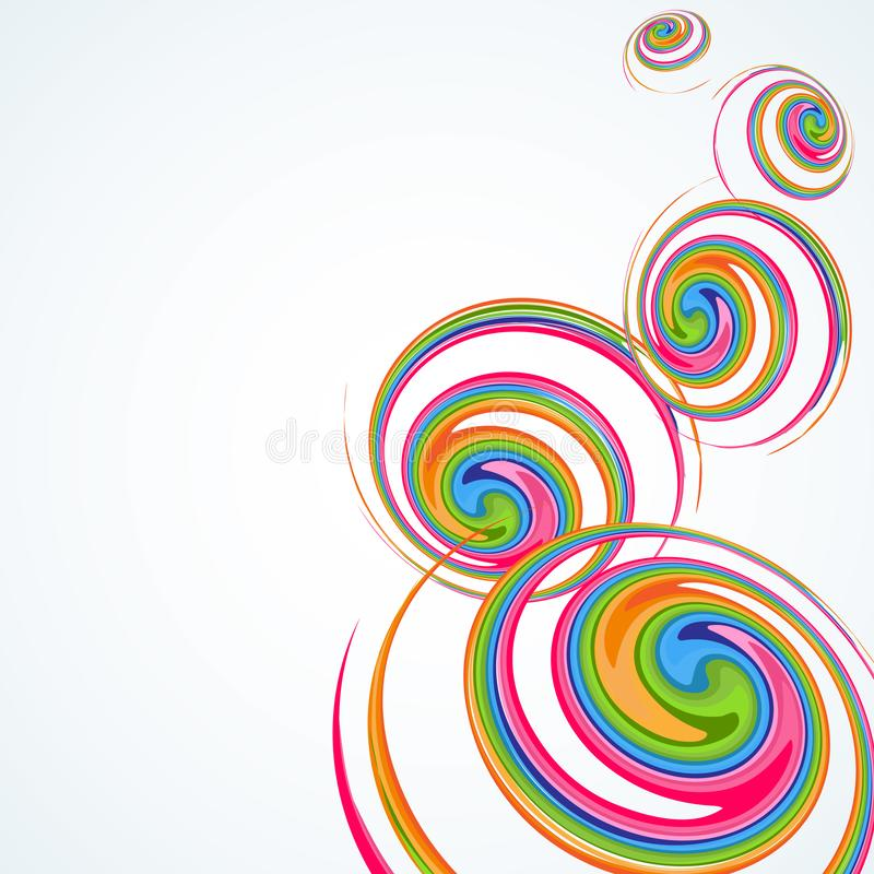 Bright abstract colorful spirals on a light background An empty template with a pattern from creative rotating circular spirals stock illustration