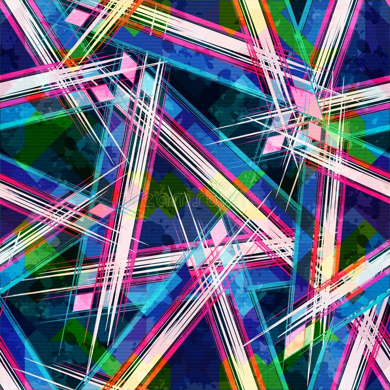 Bright abstract geometric seamless pattern in graffiti style. Quality vector illustration for your design stock illustration