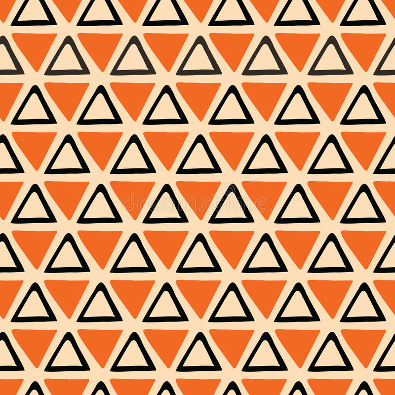 Bright abstract Halloween Seamless orange and black pattern made from hand drawn triangles royalty free illustration