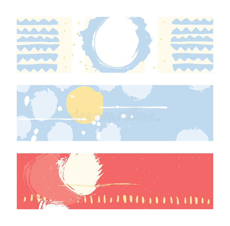 Bright abstract horizontal banners, hand drawn with brush and stripes, brush blobs and smears. Pink, yellow, blue accents. Vector. Illustration set with place royalty free illustration