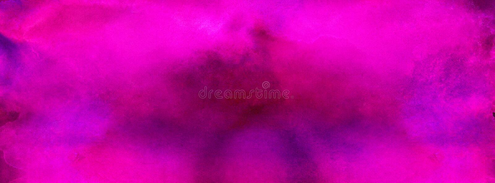 Bright abstract pink paper texture water color painted illustration. Light magenta ink watercolor on black background stock images