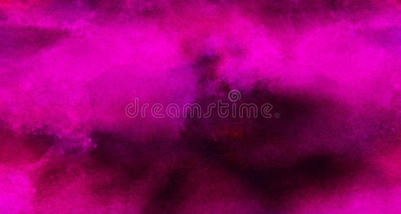Bright abstract pink paper texture water color painted illustration. Light magenta ink watercolor on black background. Colorful smeared fuchsia neon paper stock photos