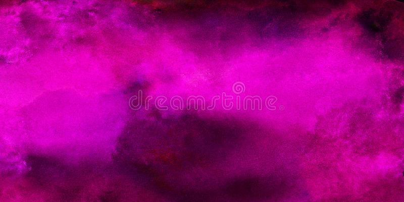 Bright abstract pink paper texture water color painted illustration. Light magenta ink watercolor on black background. Colorful smeared fuchsia neon paper royalty free stock photos
