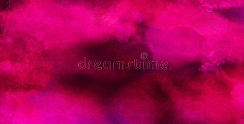 Bright abstract pink paper texture water color painted illustration. Light magenta ink watercolor on black background. Colorful smeared fuchsia neon paper stock image