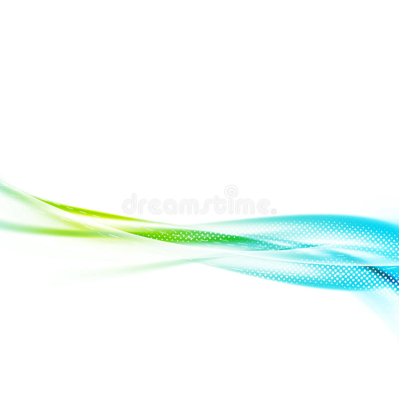 Bright abstract satin fresh swoosh wave lines template. Vivid green to blue halftone gradient transparent flyer background. Speed motion overlay border divider royalty free illustration