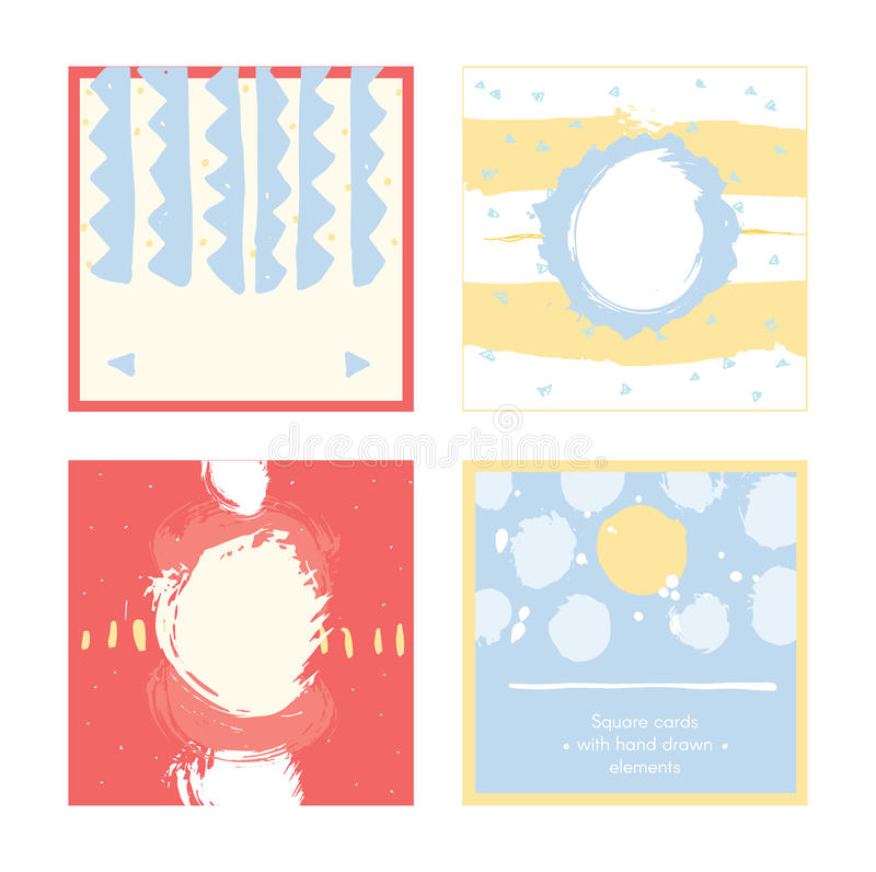 Bright abstract square cards, hand drawn with brush and stripes, brush blobs and smears. Pink, yellow, blue accents. Vector royalty free illustration