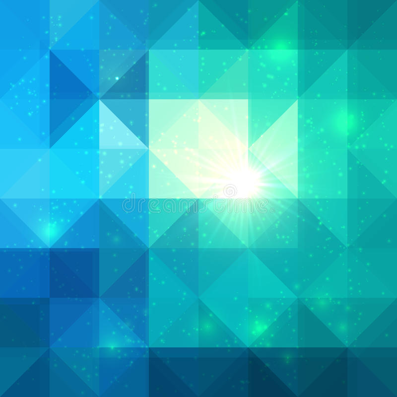 Bright abstract triangles blue vector background royalty free illustration