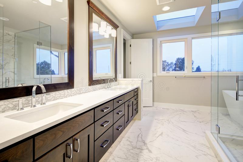 Master bathroom interior with double vanity cabinet royalty free stock photos