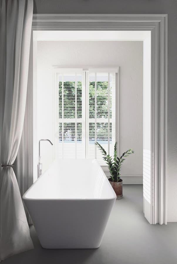 Bright airy modern white bathroom interior stock illustration