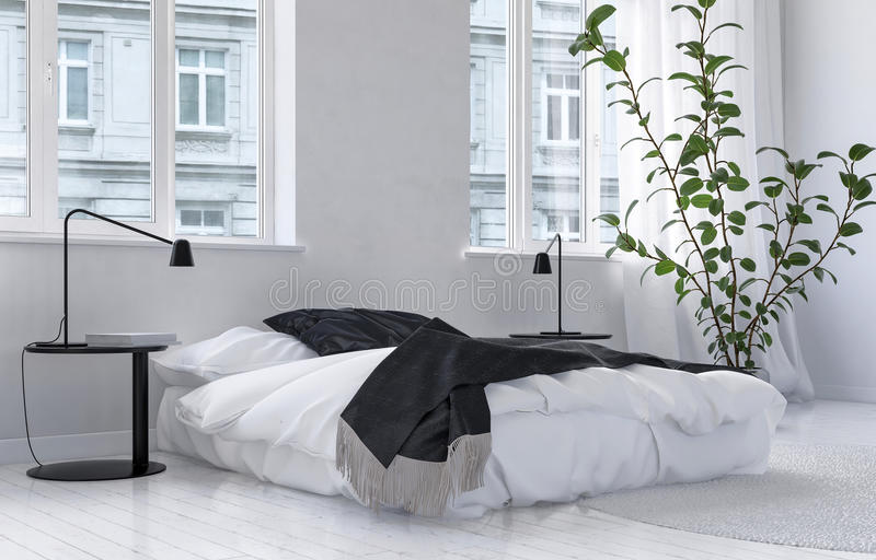 Bright airy white bedroom interior royalty free illustration