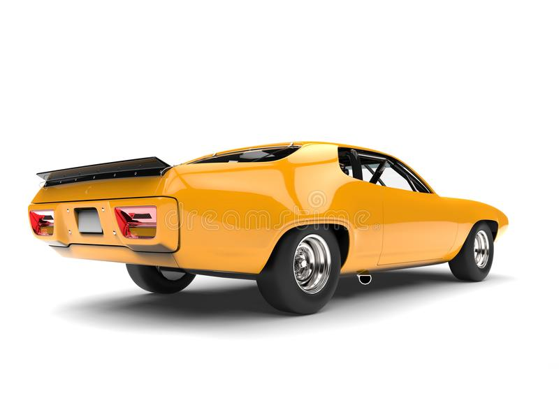 Bright amber yellow vintage race car - back view royalty free stock image