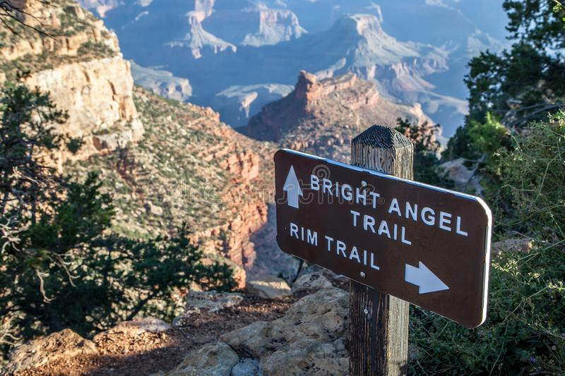 Bright Angel Trail. Sign indicating the Bright Angel trailhead, the main trail in and out of the Grand Canyon, located at South Rim of The Grand Canyon National royalty free stock image