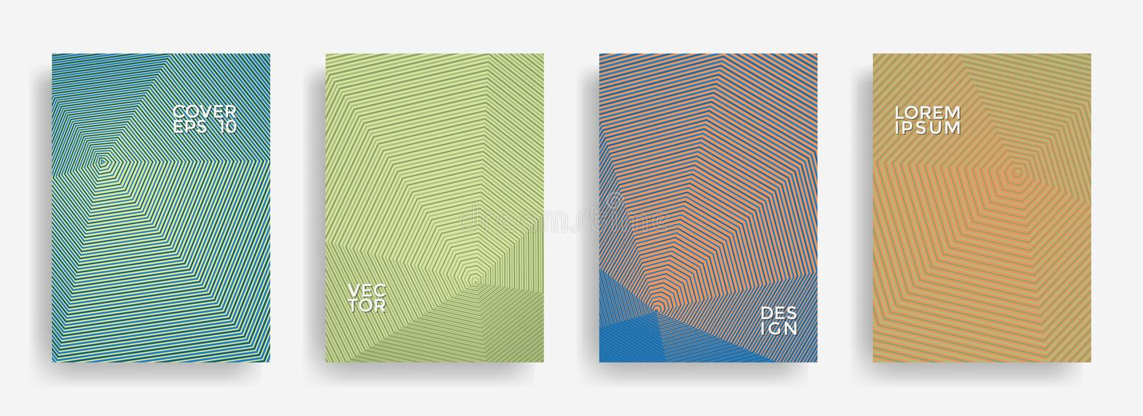 Bright annual report design vector collection. Halftone lines texture cover page layout templates set. royalty free illustration