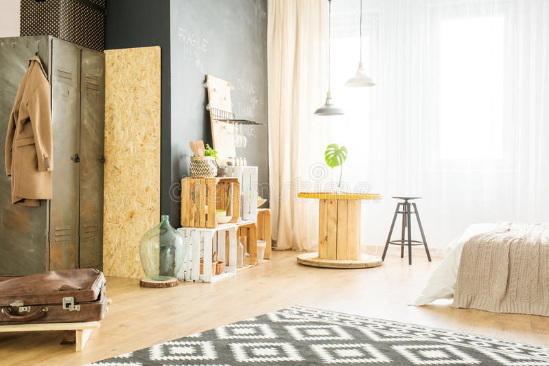 Bright apartment for hipster royalty free stock photography