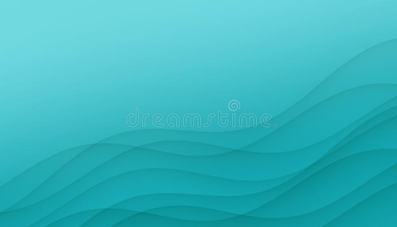 Bright aqua blue curves abstract background illustration with copy space. stock illustration