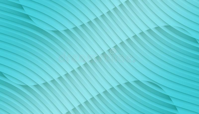 Bright aqua blue overlapping contoured 3d lines and curves geometric abstract wallpaper background illustration vector illustration