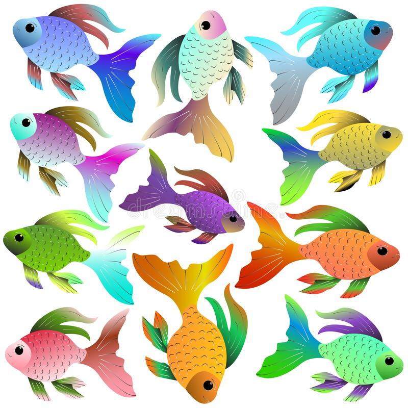 Bright aquarium fish of different colors and shades stock illustration