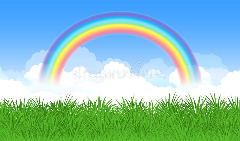 Bright arched rainbow with blue sky, clouds and green grass. Vector illustration stock illustration