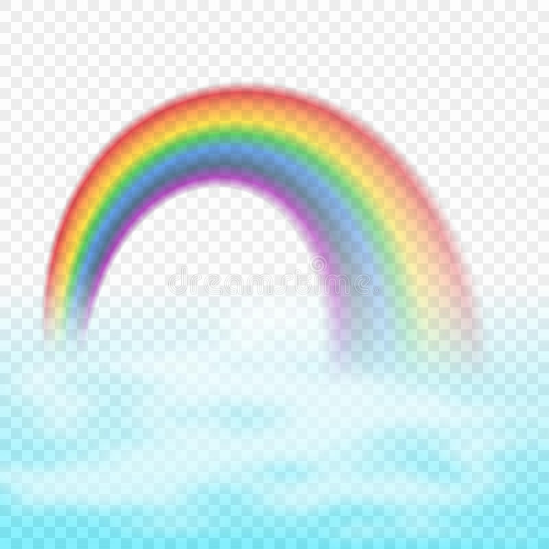 Download Bright Arched Rainbow With Clouds Realistic Vector Illustration On Transparent Background Stock