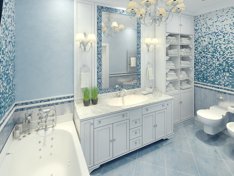 Bright art deco bathroom interior. The spacious bathroom with white furniture and fragments of mosaic wall. 3D render stock photography