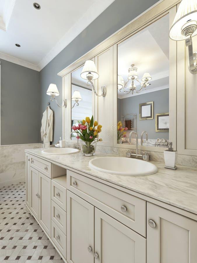 Bright art deco style bathroom. 3d render stock images