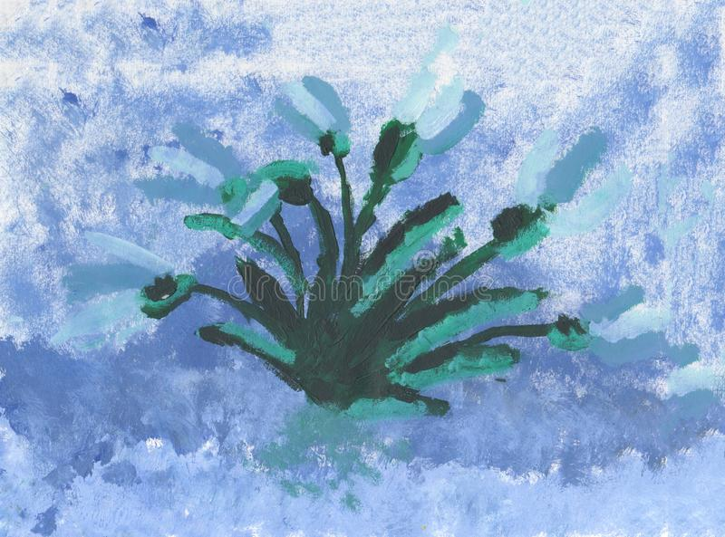 Spring snowdrops on blue background. Bright artistic painting. Spring snowdrops on blue background stock illustration