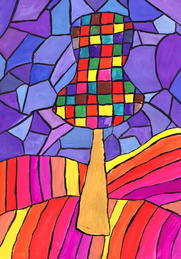 Abstract Tree. A Sketch Of A Stained Glass Window. Child`s ...
