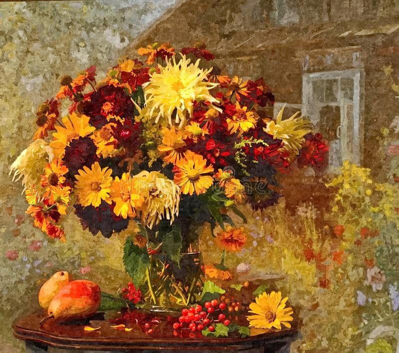Bright autumn bouquet. Rustic still-life. Painting wet watercolor on paper. Naive art. Drawing watercolor on paper. stock illustration