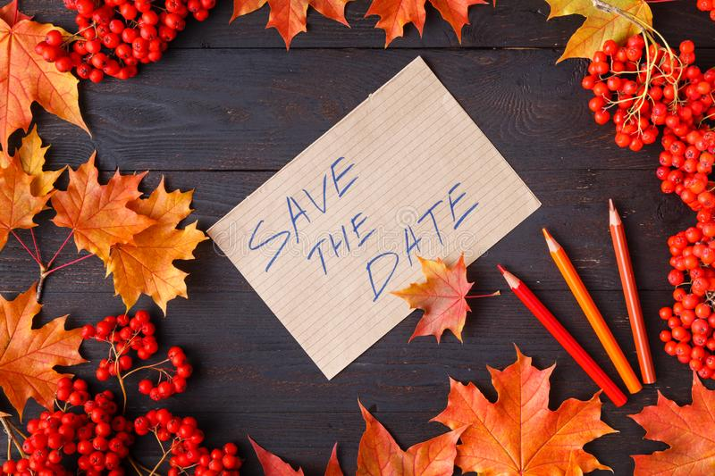Bright autumn leaves and text; generic fall background, perfect for sale banners, wedding invitation or save the date template, se. Ason greeting card stock photo