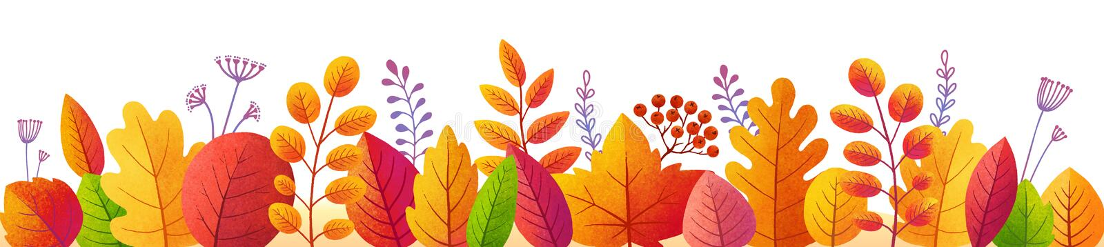 Bright autumn leaves in textured flat style, vector colorful fall foliage border. Isolated on white background royalty free illustration