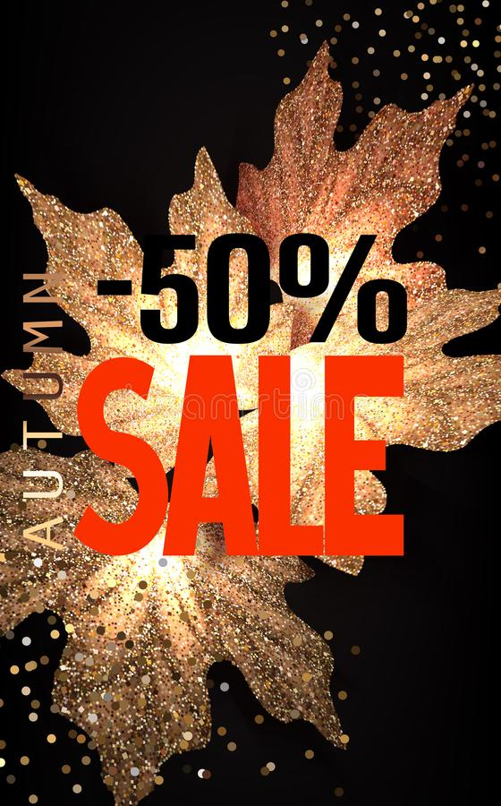 Bright autumn SALE background with falling gold maple leaves. Vector illustration royalty free illustration