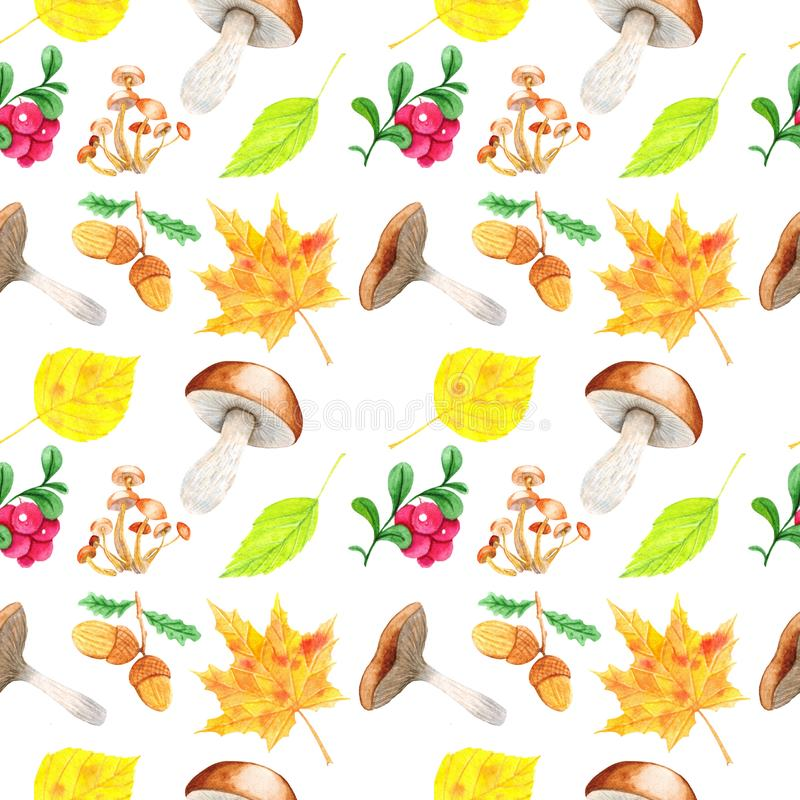 Bright autumn seamless pattern with colorful leaves, lingonberries, acorns. Autumn collection. Perfect for your creation, wallpaper, print, cover design royalty free illustration