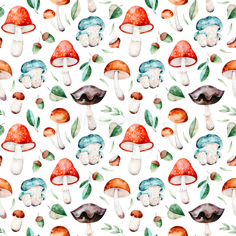 Bright autumn seamless pattern with autumn leaves,acorns,multicolored mushrooms royalty free illustration