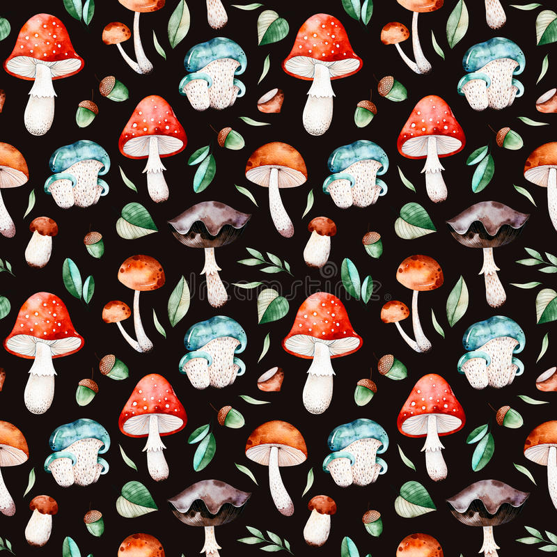 Bright autumn seamless pattern with autumn leaves,branches, multicolored mushrooms vector illustration