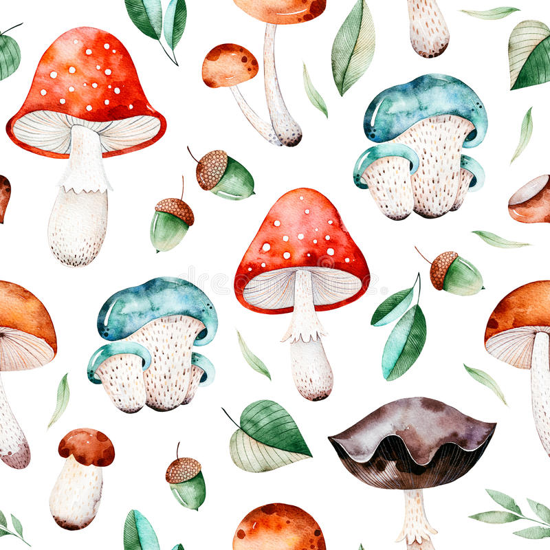 Free Bright Autumn Seamless Pattern With Autumn Leaves, Acorns, Multicolored Mushrooms Royalty Free Stock Photo - 98652335