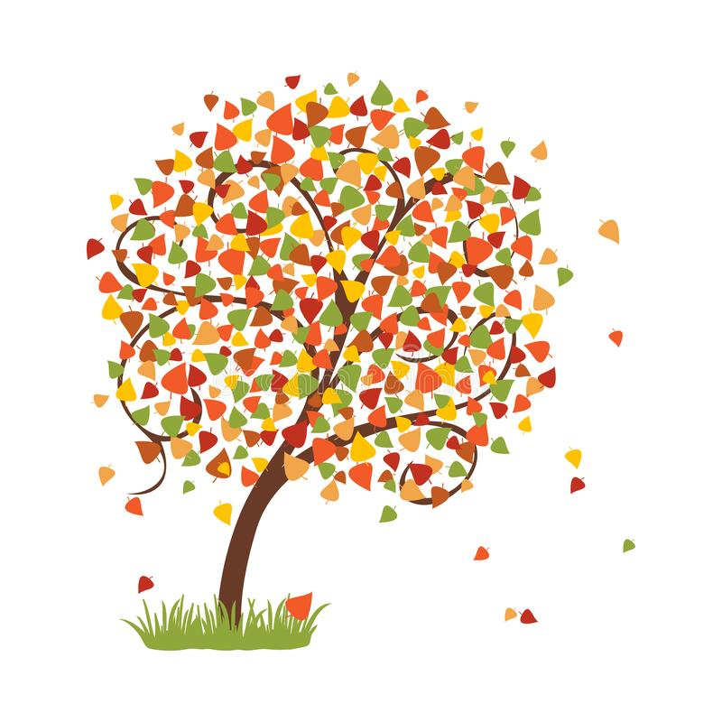 Bright autumn tree with colorful falling leaves. Vector. Illustration royalty free illustration
