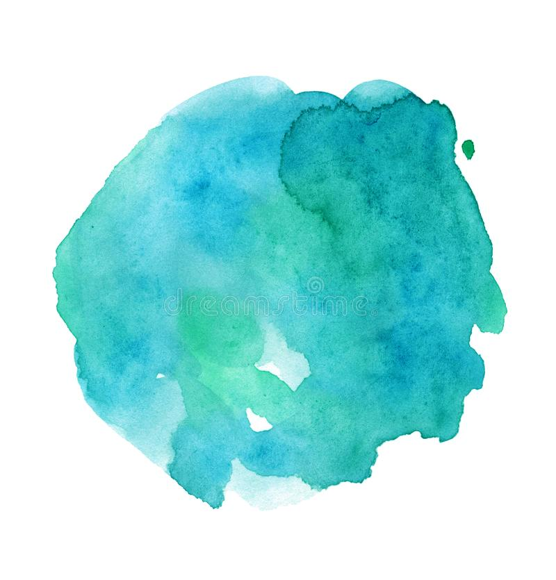 Bright azure watercolor hand-painted smear, minimalistic illustration of blue spot. Isolated on white background royalty free illustration