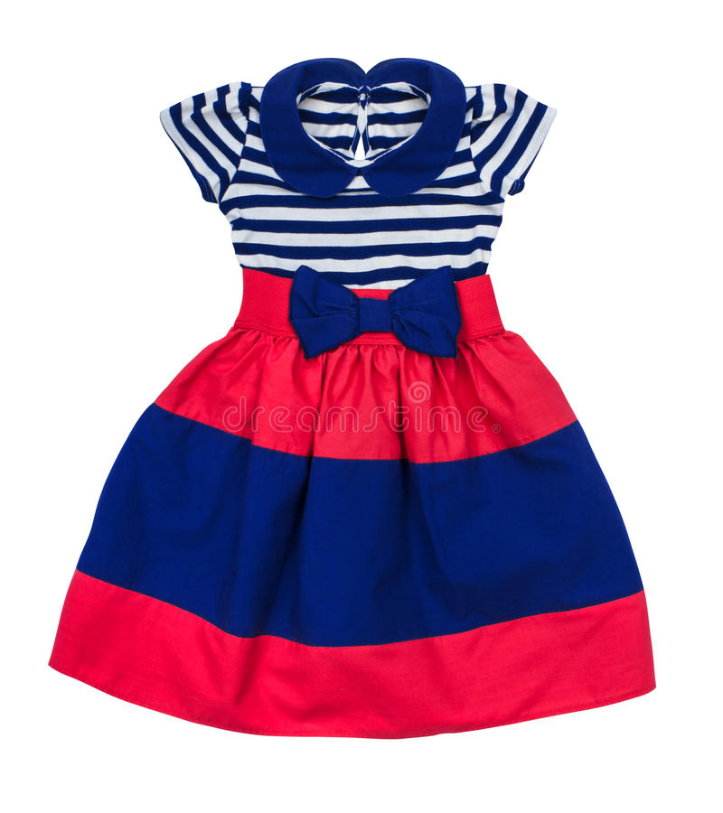 Bright Baby Dress In Blue And Red Stripes Stock Photo Image Of