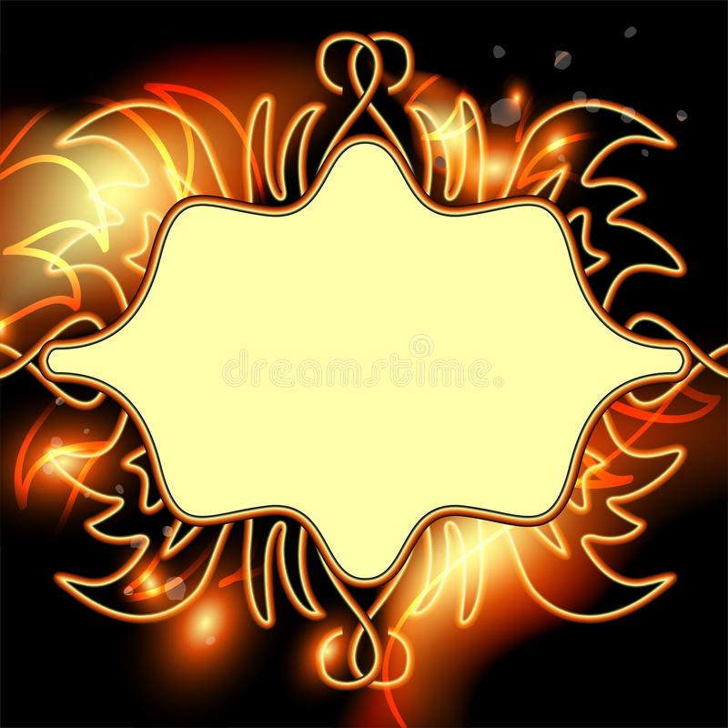 Bright background for advertising and text with fiery effects. Illustration stock illustration