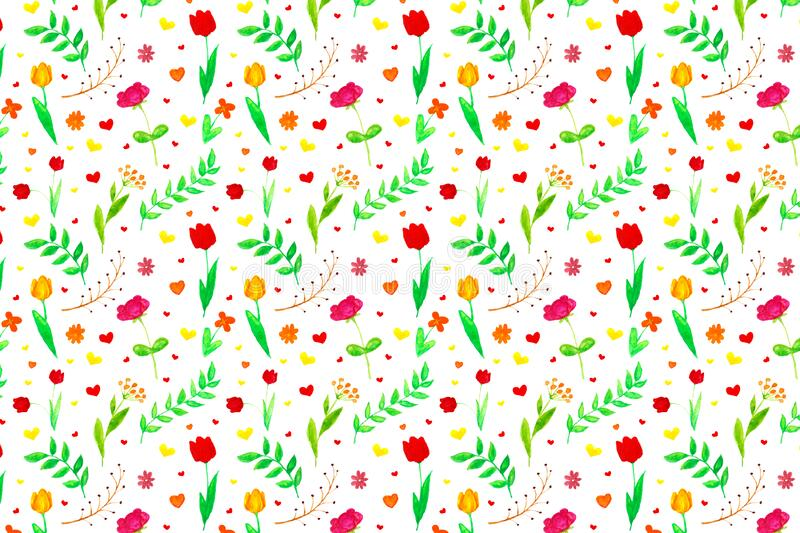 Bright background with flowers, hearts and leaves.  stock illustration