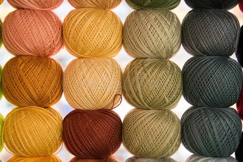 Bright background image of yarns and threads royalty free stock photos