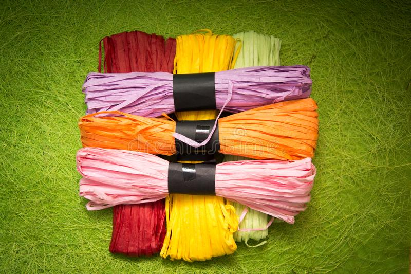 Bright background image of yarns and threads royalty free stock photo