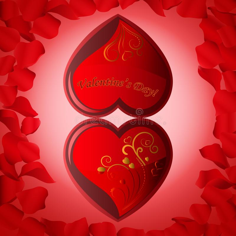 Bright background for Valentine`s Day of two hearts with rose petals vector illustration
