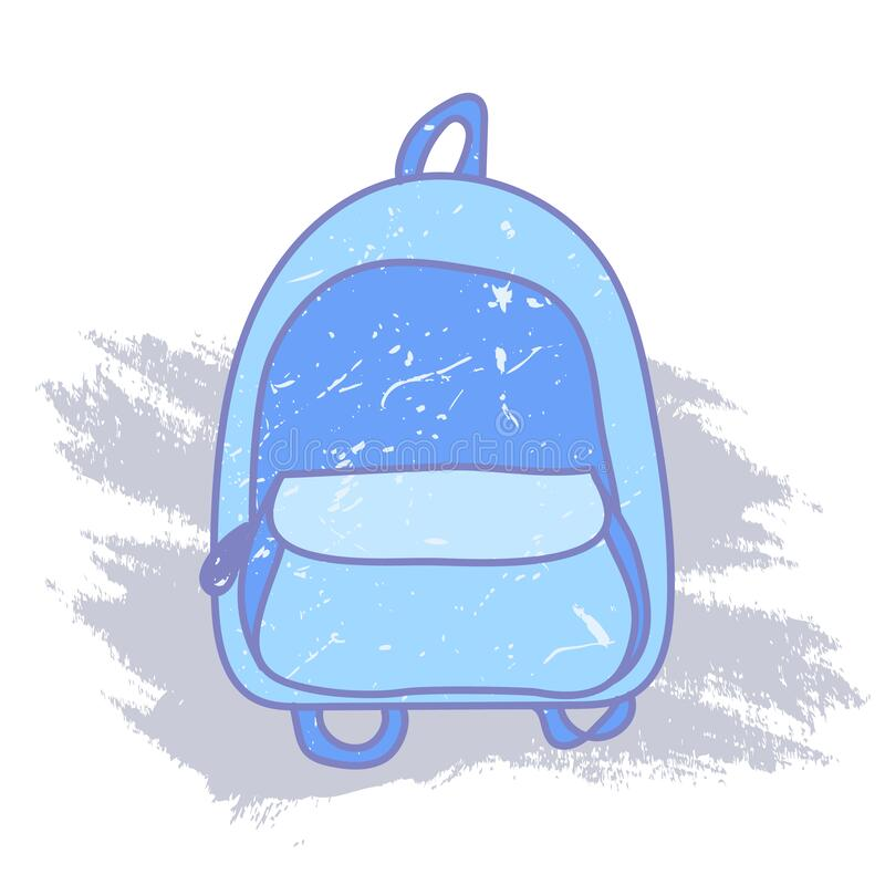 Free Bright Backpack In A Flat Style. Stylish, Trendy, Modern Hand-drawn Blue Backpack. Back To School. With One Front Pocket Stock Photography - 191360372