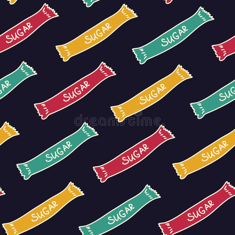 Bright bags of sugar. Seamless pattern for your design stock images