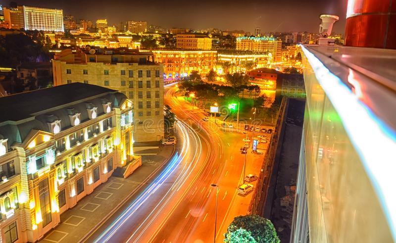 Bright Baku nights . Panoramic view of Baku. Night routes in Baku. Multi-level road junction with heavy car traffic. Night view of royalty free stock photography
