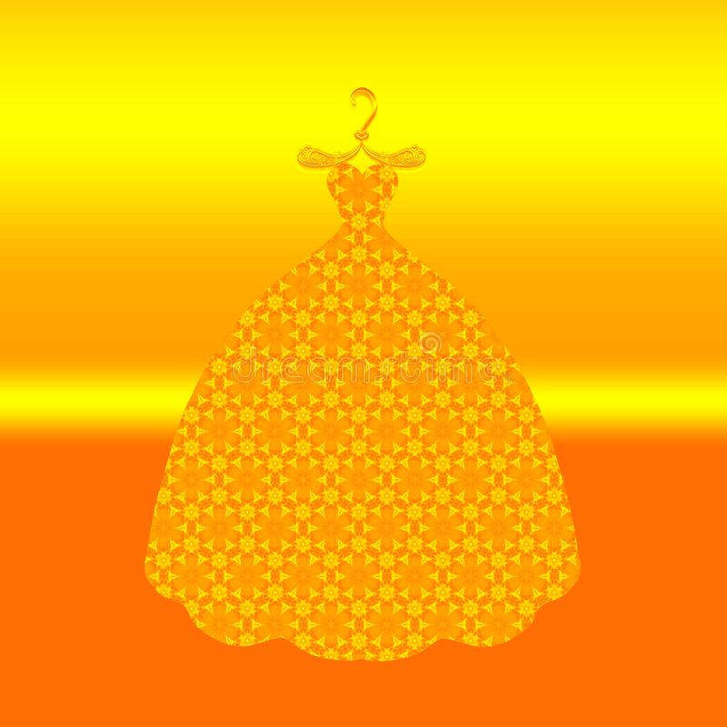 Bright ball gown on a hanger.  stock illustration