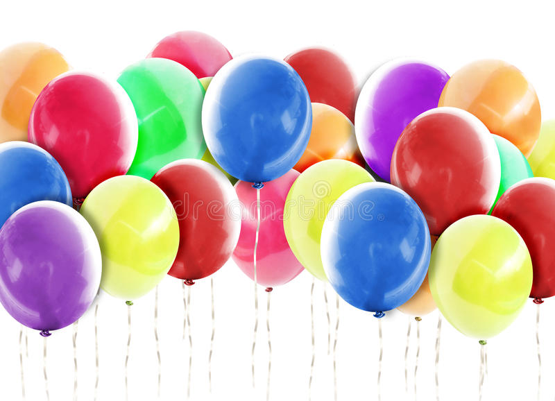Download Bright Balloons Background On White Stock Photo - Image: 26291864