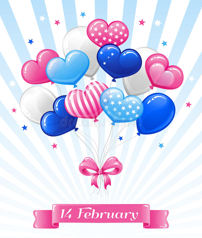Bright Balloons for Happy Valentine's day stock image